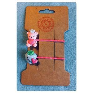 Kawaii Teddy Bear Hair Pins Set